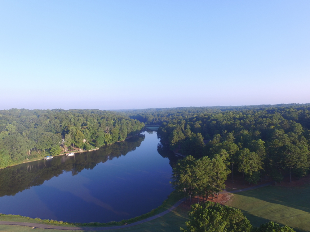 An aerial shot of Lake Trace